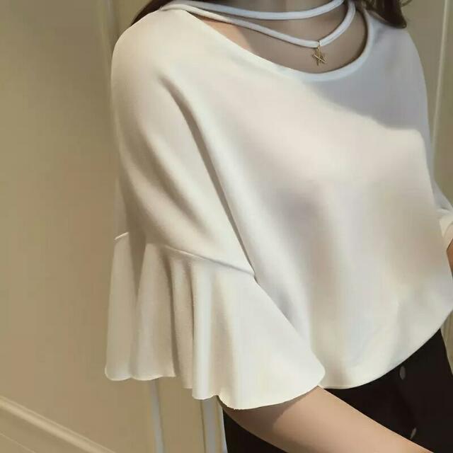 預購)2016春裝新款韓版寬鬆 鏤空純色荷葉袖T恤打底上衣女潮