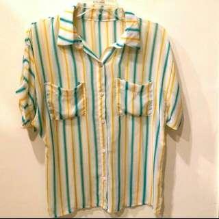 夏日直條紋雪紡襯衫