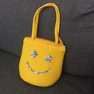 日本直送微笑手提袋Yellow Smiley 收納包 手拿包 化妝包