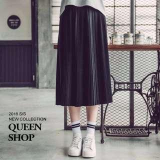 QueenShop小百褶壓褶側拉鍊長裙