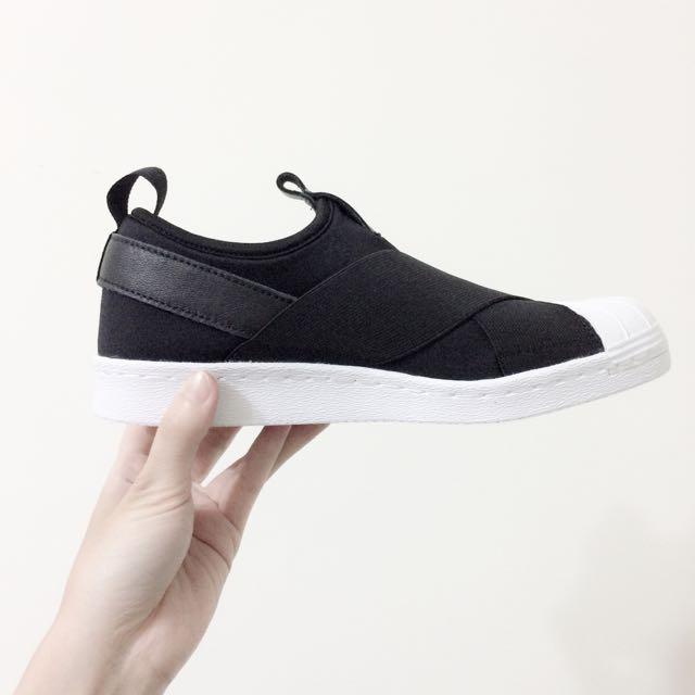 【現貨23.5】Adidas Originals Superstar Slip-On 黑色繃帶鞋