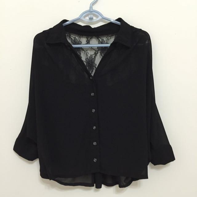 黑色飛鼠袖襯衫