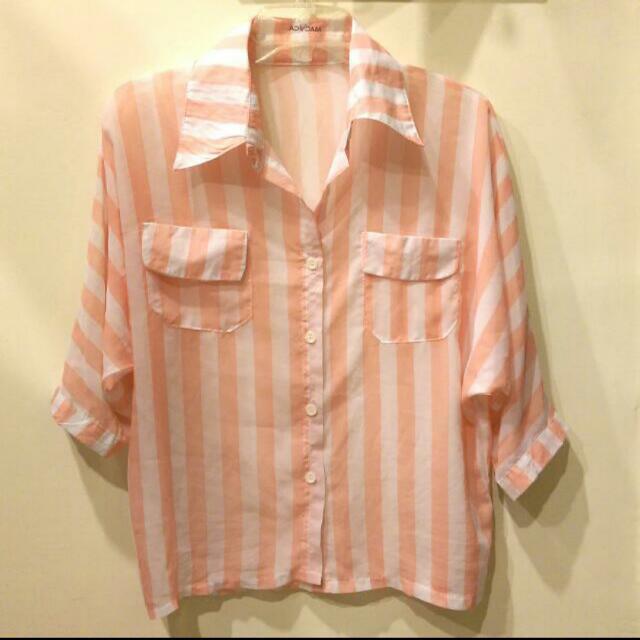 粉色橘直條紋襯衫
