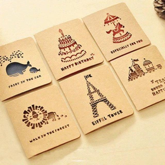 現貨 買5送1  復古牛皮鏤空 小賀卡 小卡片 小禮卡 生日卡片 牛皮紙卡片 禮品小卡 祝福卡 折疊賀卡+信封