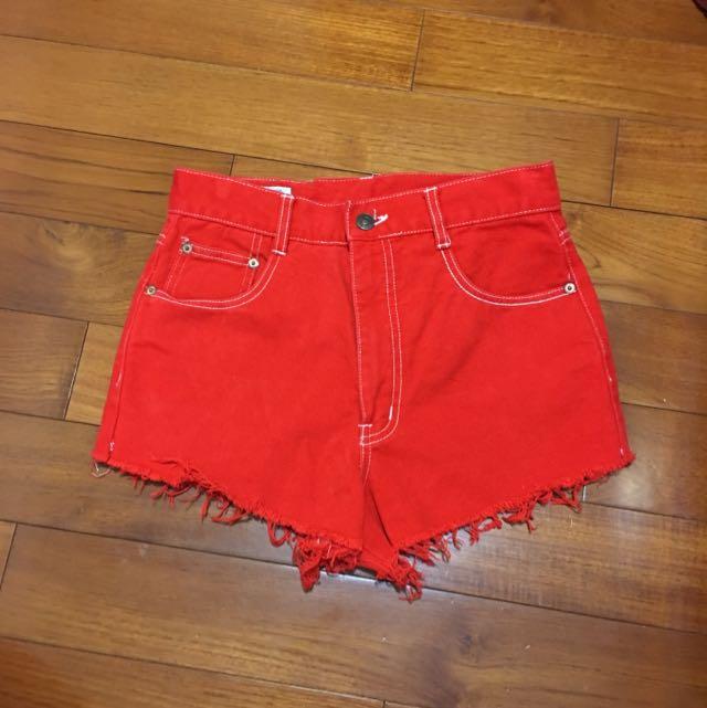 (降售)鮮紅 Blueway 高腰古著牛仔短褲