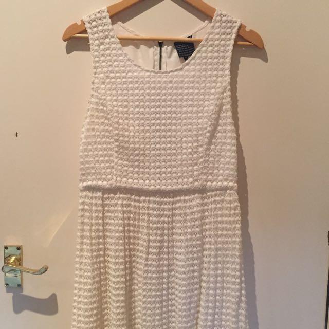 Alice In The Eve White Crochet Skater Dress