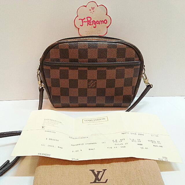0cc9271a1 Authenticity Louis Vuitton Monogram Damier Ebene Ipanema Small Sling ...
