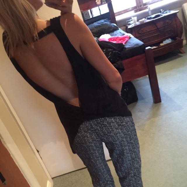 Black Asymmetric Backless Bardot Top