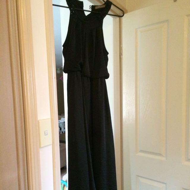 Black Maxi Holster Neck Dress