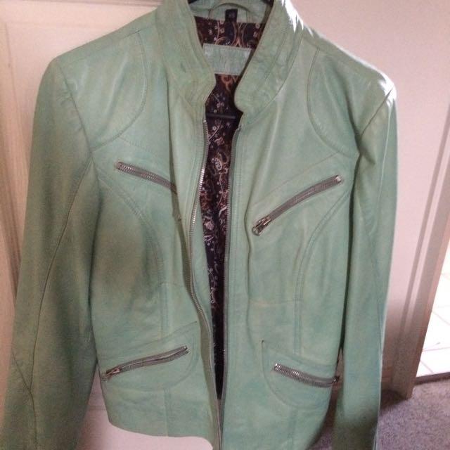 Mint Leather Jacket