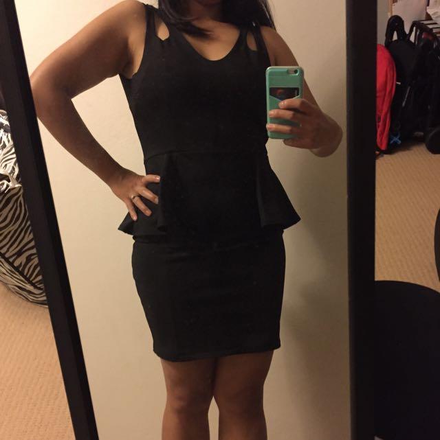 NEW New Look Black Peplum Dress - Size 10