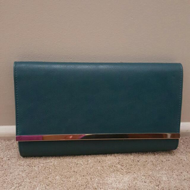 Portmans Teal Leather Clutch