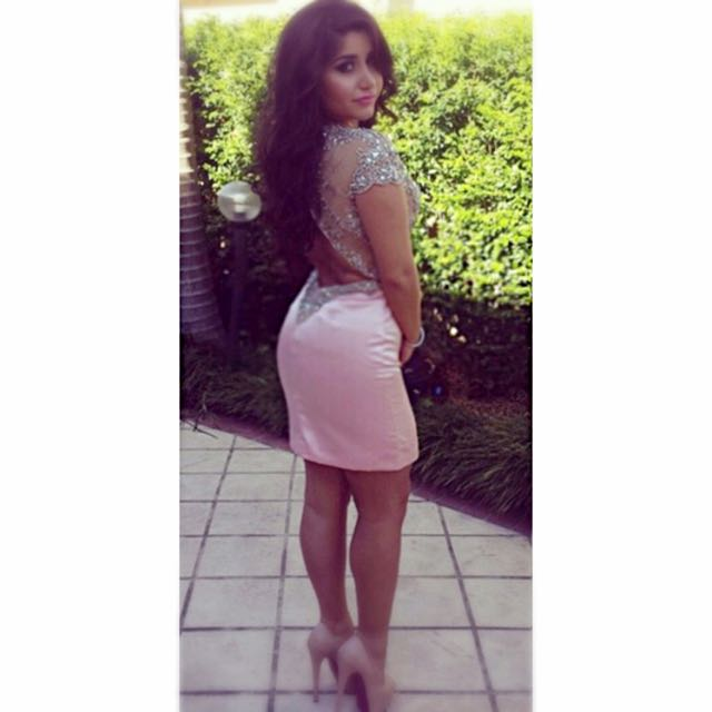 TERANI Bedazzled Pink Dress