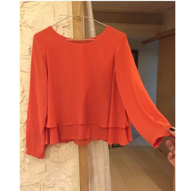 (暫售)ZARA 亮橘色傘狀長袖上衣