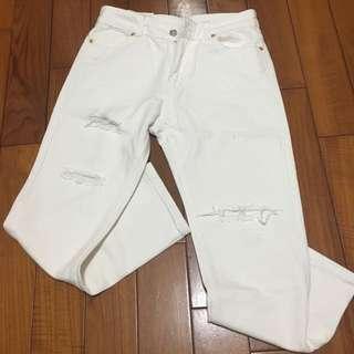 現貨全新玫瑰金扣白色刷破男友褲