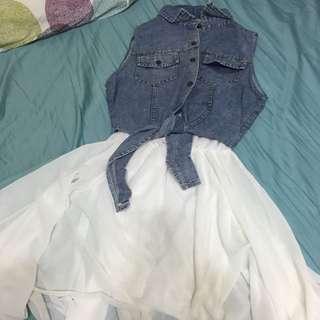 二手👋牛仔白紗洋裝