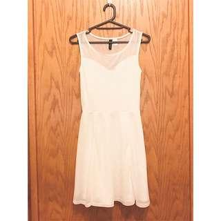 H&M白色質感洋裝 短裙