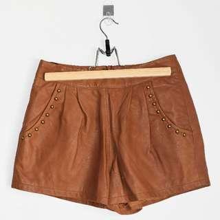Ladakh 'Miami' Tan Leather Shorts - Size 10