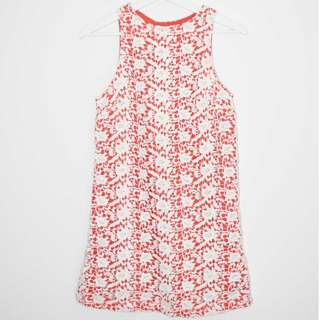 Lulu & Rose 'Lulah' Contrast White + Coral Lace Dress - Size XS
