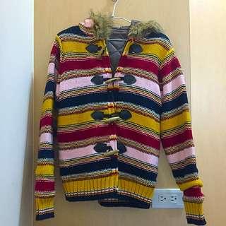 牛角釦條紋毛線外套