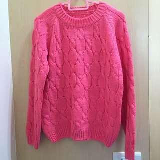 [正韓]粗針織粉紅毛衣