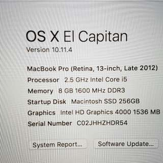 Macbook Pro Retina Display 13 Inch 256 SSD