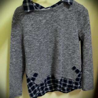 藍白格紋拼接下擺 混色灰色針織毛衣