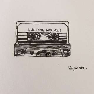 Cassette From Guardians Of The Galaxy: Vintage Print