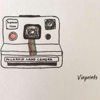 Vintage Polaroid Ink Print
