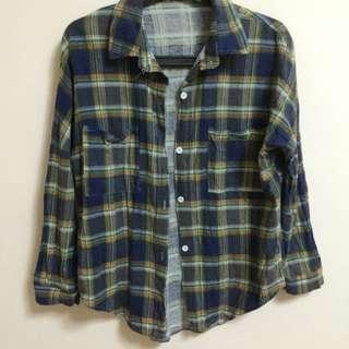 藍格紋長袖薄襯衫