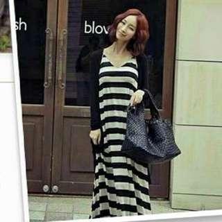 黑白條紋長洋裝(不含小外套)