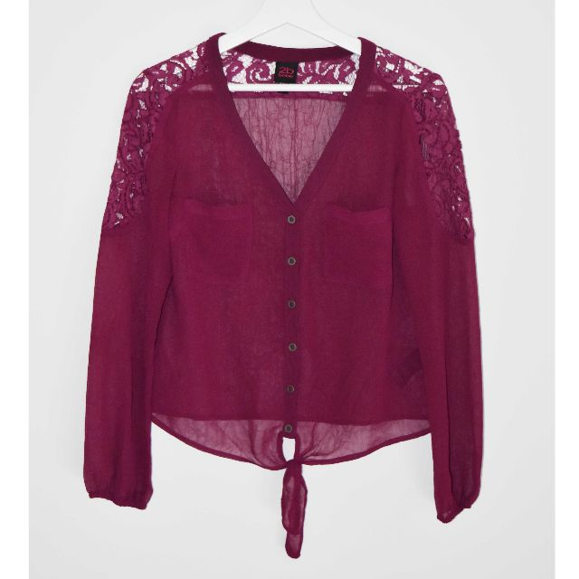 2b Bebe Maroon Lace Sheer Top - Size XS
