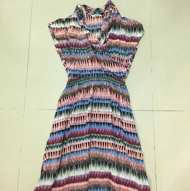 熱帶渡假風彩色長紋縮腰洋裝