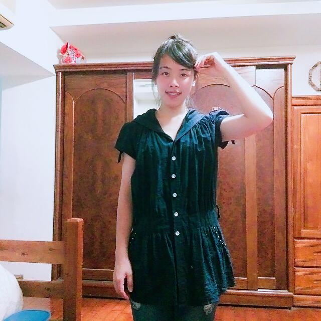 (含運)長版深藍色可愛洋裝
