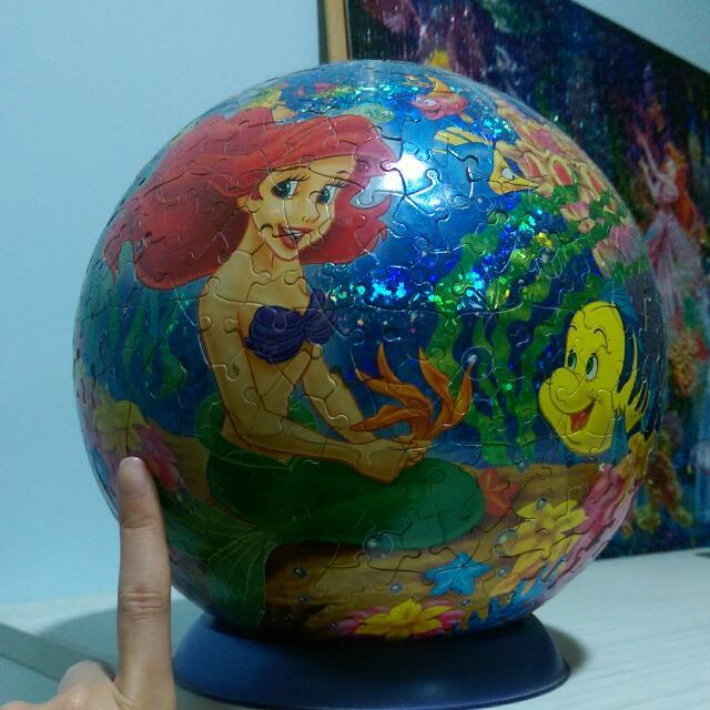 迪士尼小美人魚炫光球面立體拼圖