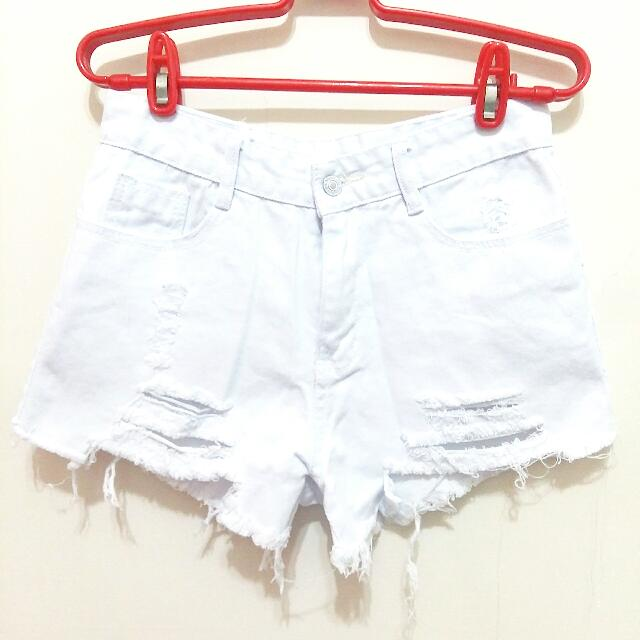 (全新)刷破白色牛仔短褲
