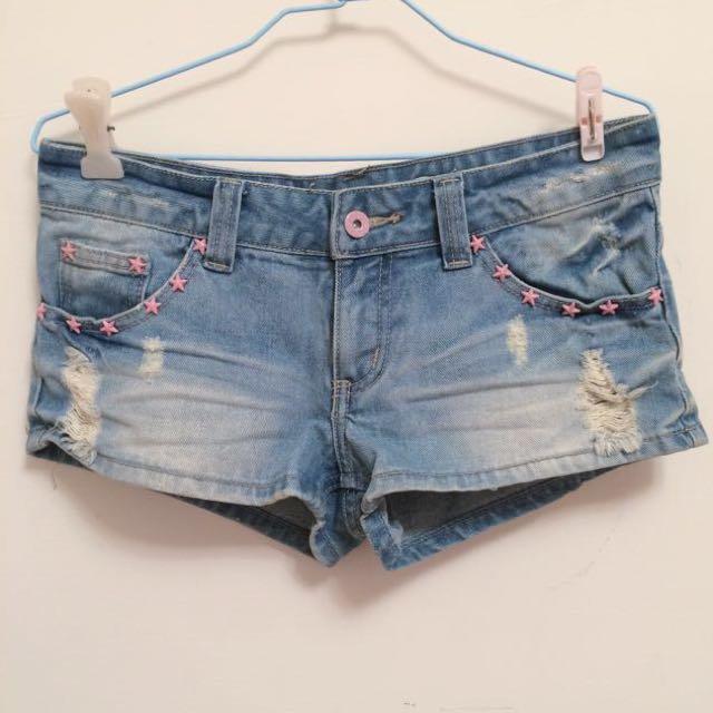 ㊊ .☾粉紅星星水洗破損風牛仔短褲☽ Vintage•古著