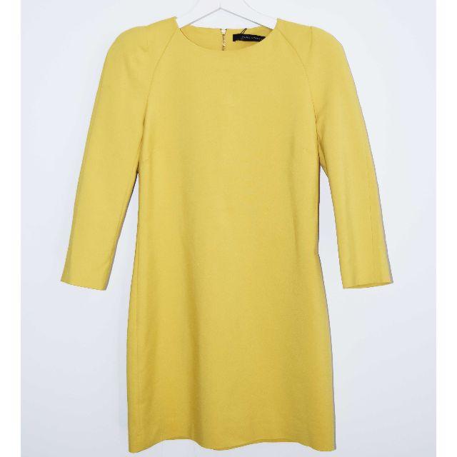 BNWT Zara Mustard Yellow Mini Dress w/ Shoulder Pads - Size S