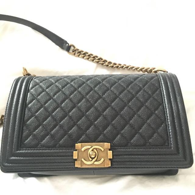 064d7a5ae88f Chanel Boy Caviar - New Medium, Luxury on Carousell