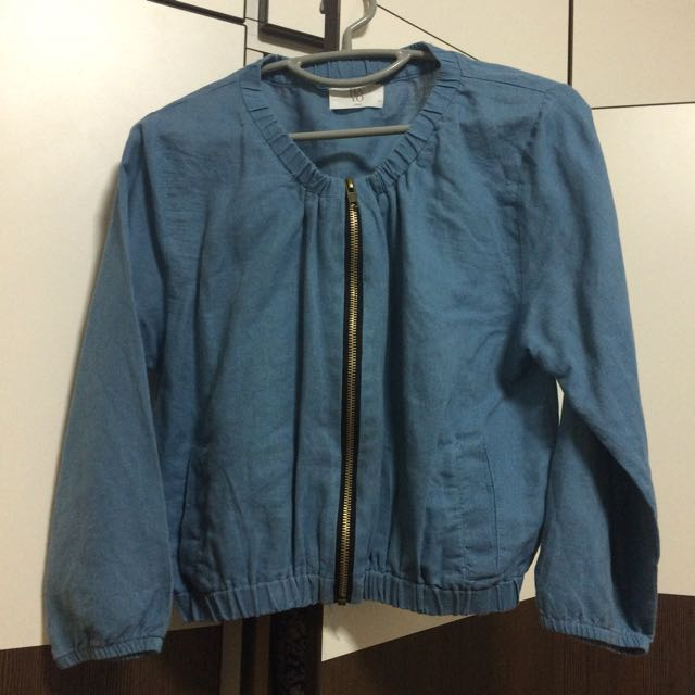 Denim Bomber Jacket Size Large