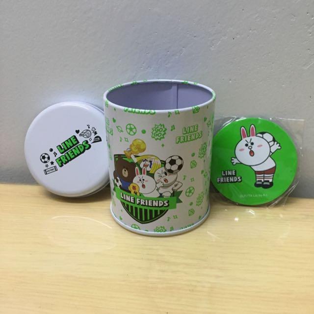 LINE FRIENDS 鐵罐 磁鐵 足球 限量 兔兔 熊大