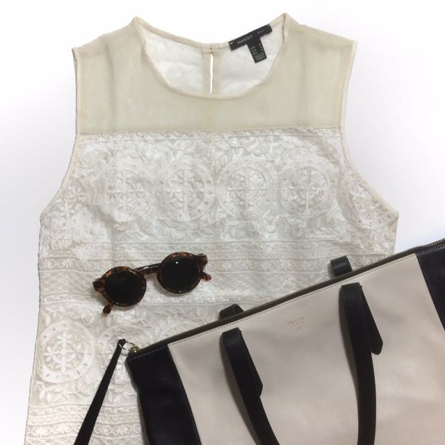 Mango transparant embroidery top