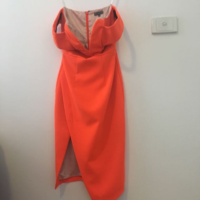 Orange Off Shoulder Bodycon Dress