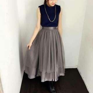 Marjorie灰色紗裙