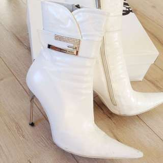 White Ankle Boots Size 39