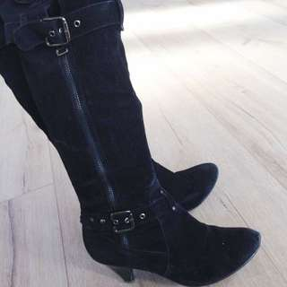 Black Suede Boots Size 8