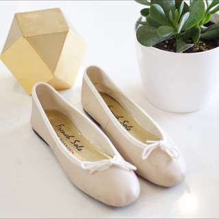 French Sole Cream Ballet Flats