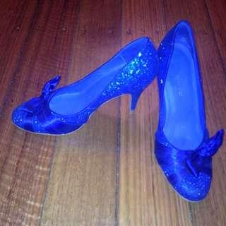 Wittner Royal Blue Sparkle Heels