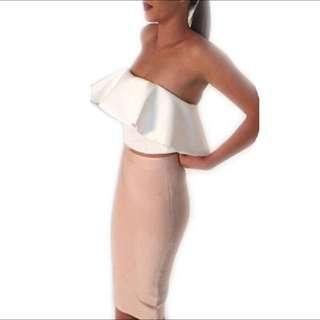 White Flouncy Top & Nude Midi Skirt Set