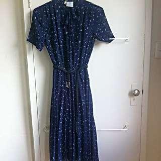 Vintage Navy Patterned dress Size 12